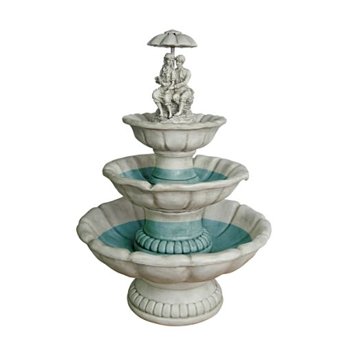 Water Fountain - 3 Foot Tall Lovers Under Umbrella Garden Decor Fountain - Outdoor Water Feature by Design Toscano