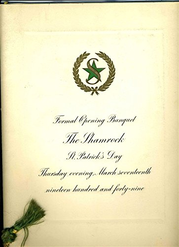- Shamrock Hotel Grand Opening Program & Menu Houston Texas March 17 1949 McCarthy