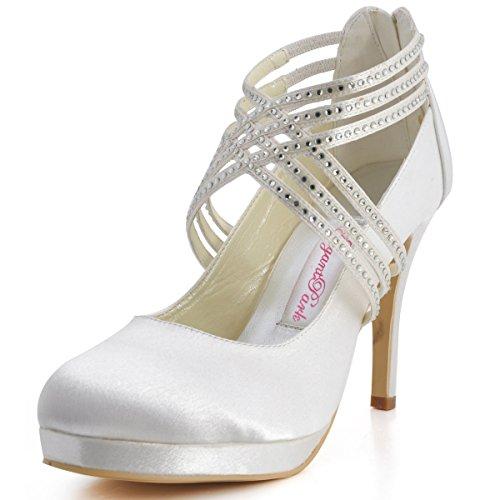Ideales Punta Diamantes Zapatos Ep11085 Bodas Imitación Tacón Elegantpark Cruzadas Alto Satén Con Cerrada Mujer; Y Marfil Marca De Modelo Bandas Para ZnXnvWU