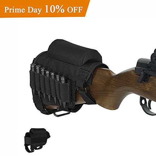AIRSSON Rifle Buttstock Adjustable Tactical Cheek Rest Shell Holder Pouch with Ammo Carrier for 300 308 Winmag