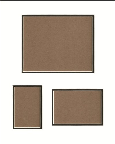 16x20 White & Black Double Collage Mat with White Core for 3 Pictures