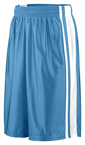 Augusta 924A Youth Striped Dazzle Short, Columbia Blue & White, Small