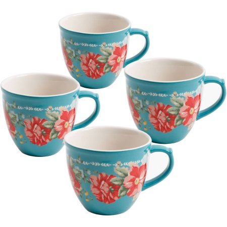 The Pioneer Woman Vintage Floral Teal 16-Ounce Mug Set, Set of 4 by The Pioneer Woman
