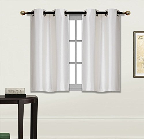 Elegant Home 2 Panels Tiers Grommets Small Window Treatment Curtain Faux Silk Semi Sheer Drape Short Panel 30