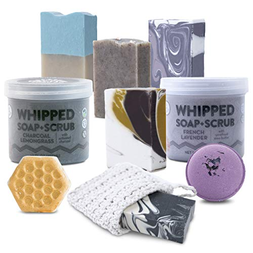 Bath Gift Basket for Women - Luxurious Bath Gift Sets with Bar Soap, Whipped Soap + Scrub, and Froth Bombs