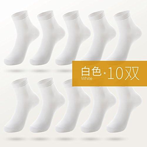 Calcetines, medias de algodón puro de hombres, calcetines negros, negocios, bajo, delgado, de hombres de color puro, 10 pares de calcetines,F,medio barril blanco: Amazon.es: Hogar
