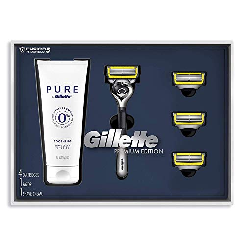 Gillette Fusion Proshield Shave Gift Set for Men - 4 Fusion Proshield Blade Refills,1 Razor Handle, Shaving Cream
