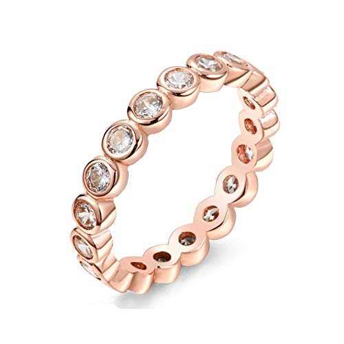 NYC Sterling Women's .925 Cubic Zirconia 2.5mm Bezel Design Stackable Eternity Ring Band (Rose-Gold-Plated-Silver, 6)