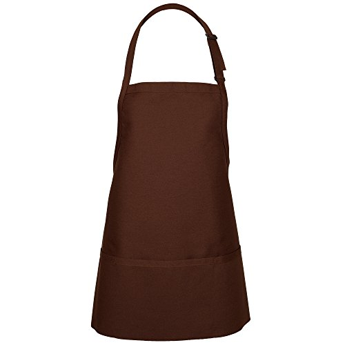 Tan Apron - Fame Adult's 3 Pocket Bib Apron-Brown-O/S