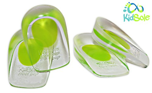 2 Pack - KidSole Shock Absorbing Lightweight Gel Heel Cups For Kid's With Sensitive Heels, Heel Spurs, Plantar Fasciitis, or Ankle Pain (Green Toddlers Size 11-2)