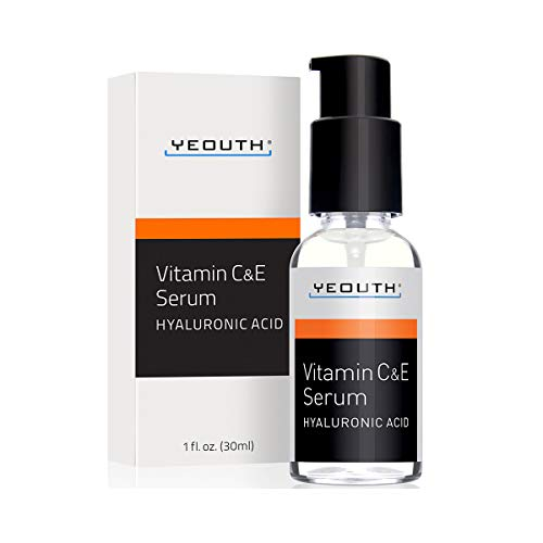 (YEOUTH Vitamin C and E Day Serum with Hyaluronic Acid, anti aging skin care product/anti wrinkle serum will fill fine lines, even skin tone and fade age spots.)