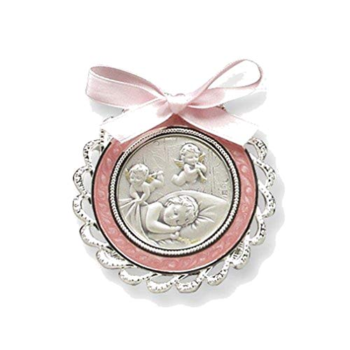 (Sterling Silver Girl's Pink Crib Medal (5.25X7.2MM))