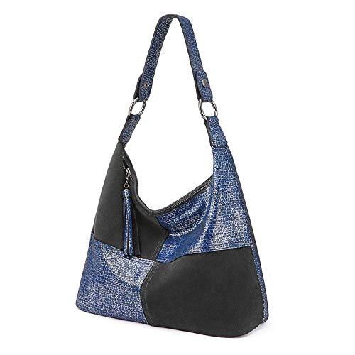 Genuine Leather Women Bag Fashion Shoulder Bag Large Capacity Handbags Tote Bag Hobo Ladies Patchwork,Blue,Max Length between 30cm and 50cm