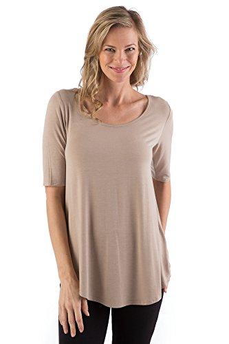 Yala Sandy Relaxed Fit Scoop Neck Short Sleeve Top (Medium, Sandy)