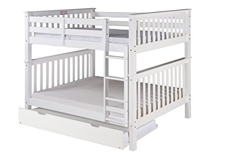 - Camaflexi Santa Fe Mission Tall Bunk Bed Attached Ladder with Under Bed Trundle, Full Over Full, White