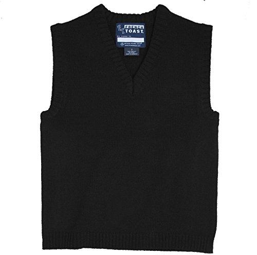 French Toast School Uniform Boys V-Neck Sweater Vest, Black, Small (Black Sweater Vest For Boys)