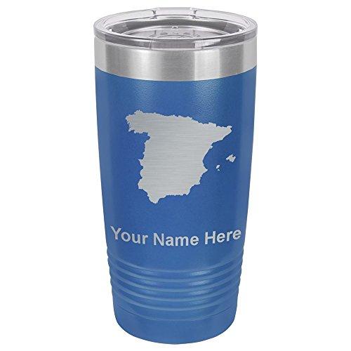 20oz Tumbler Mug, Country Silhouette Spain, Personalized Engraving Included (Dark Blue) by SkunkWerkz