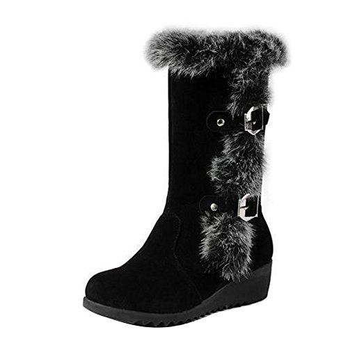 Women Lady Faux Leather Rabbit Fur Buckles Mid Calf Wedge He