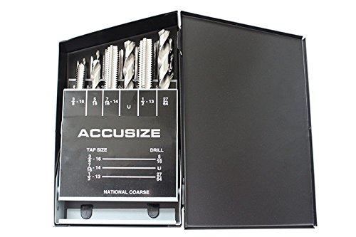 Accusize Industrial Tools 18 Pc H.S.S. Tap and Drill Set, U.N.C, 0001-0040