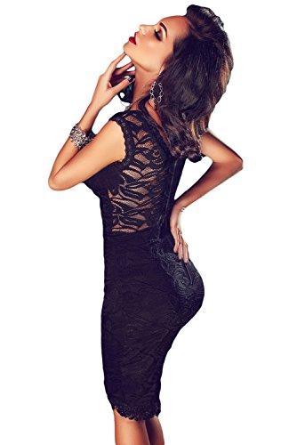 NEW Mesdames noir en dentelle transparente dos robe cocktail Club Wear Soirée D'Été Robes Cruise Prom Taille L 12