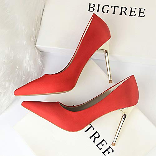 Heels Stiletto Autumn High Professional Elegant Red High Black Women'S Yukun Shoes Pointed Shallow Silk heels Green Satin R0wc1Fvpq