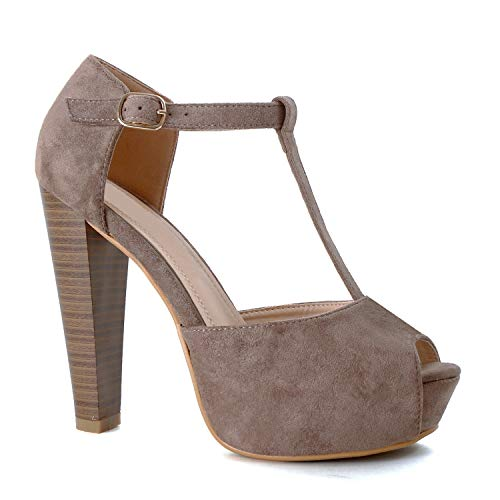 Guilty Heart Women's Peep Toe Platform Sandal Pumps Open Toe Ankle Buckle T-Strap Extreme Evening Party Dress Sandal (9 M US, Taupe Suede)