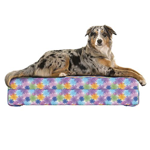 Lunarable Abstract Dog Bed, Vibrant Floral Radiant Petals Spring Nature Beauty Girls Essence Fragrance Theme, Dog Pillow with High Resilience Visco Foam for Pets, 32