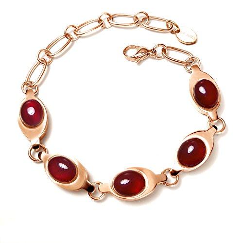 La Jolla Titanium Bracelet - Consort Hua - Ruby Chalcedony - Rose Gold - Bracelet by La Jolla