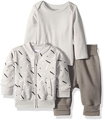 Hanes Ultimate Baby Flexy Jogger with Long Sleeve Crew and Fleece Jacket, Light Grey Stripe, 0-6 ()