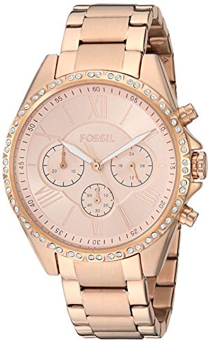 Fossil Women's Modern Courier Quartz Stainless Steel Chronograph Watch, Color: Rose Gold (Model: BQ3377)