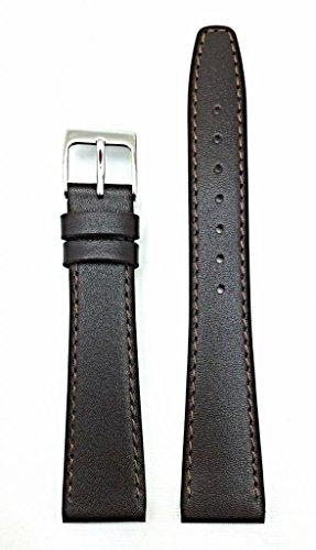 NewLife Dark Brown Elegant Stitched Calf Leather, flat, 14mm