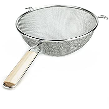 "Huji Stainless Steel Fine 8"" Double Mesh Strainer Colander Sieve Sifter with Wooden Handle for Kitchen Food Rice Pasta (1, 8"")"