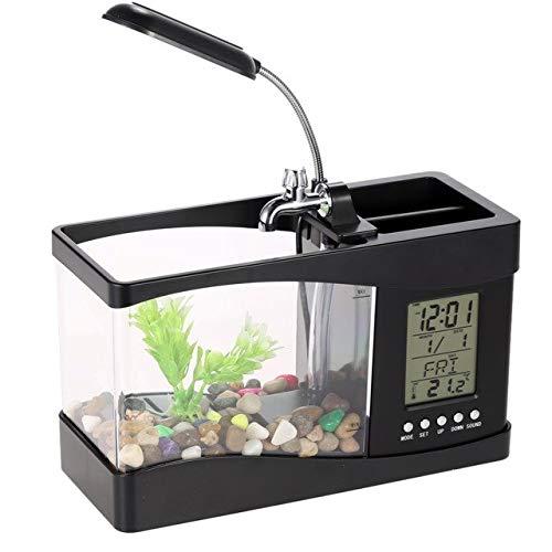 Aquarium Black White USB Mini Aquarium Fish Tank Aquarium with LED Lamp Light LCD Display Screen and Clock Fish Tank Aquarium Black, M