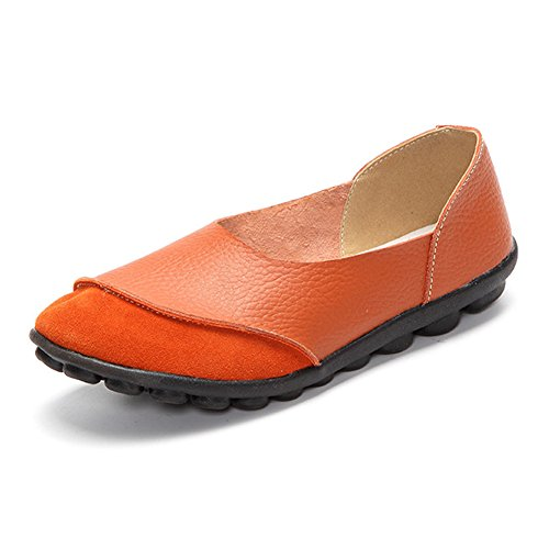 SCIEN Women's Casual Loafers Suede Leather Walking Slip-On Driving Moccasins Flats Shoes Orange