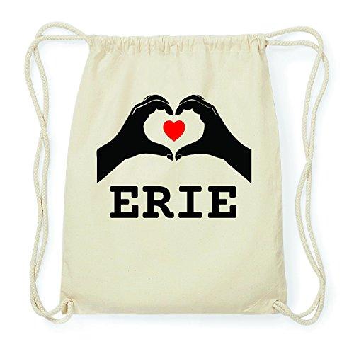 JOllify ERIE Hipster Turnbeutel Tasche Rucksack aus Baumwolle - Farbe: natur Design: Hände Herz