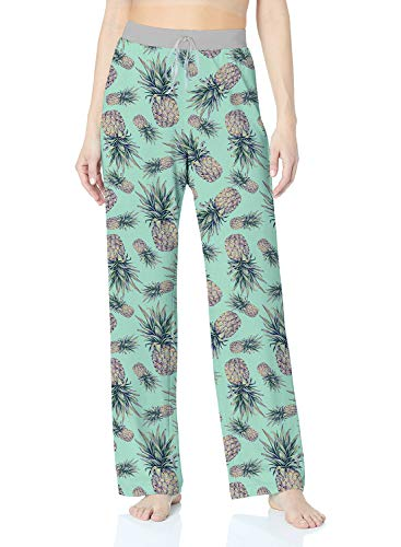 ALISISTER Pineapple Pajamas Womens Soft Palazzo Lounge Pants 90S Casual Loose Pregnant Sleepwear Bottom Wide Leg Long Home Relaxed Clothing XL -