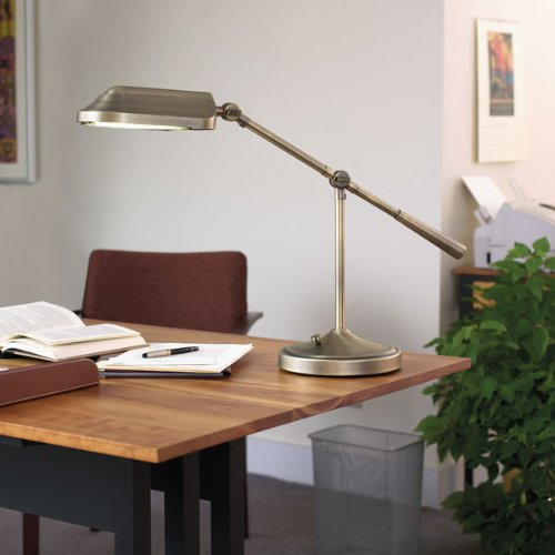 Verilux Heritage Deluxe Natural Spectrum Desk Lamp, Classic All-Metal Design, Tilting Head, and Hi/Low switch, Antiqued Brushed Brass