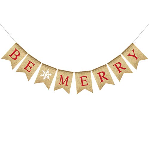 Uniwish Be Merry Burlap Banner Garland Christmas Decorations for Home Mantle Rustic Indoor Outdoor Winter Festival Photo Props