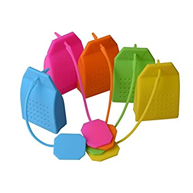 Tea Infuser Classic Bag Shape - Premium Silicone (BPA Free), Set of 5, [Fun Colors - Baby Blue, Hot Pink, Orange, Neon Green and Yellow]