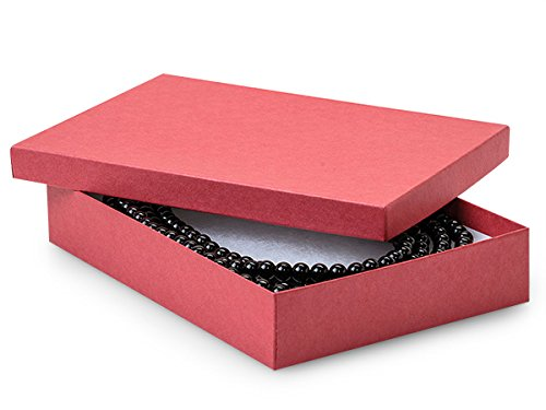 7x5x1-1/4'' Red Jewelry Boxes w/ non-tarnish Cotton (Unit Pack - 100)