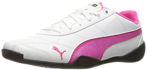 PUMA Girls' Tune Cat 3 Glitter Sneaker, White/Pink Glo, 5.5 M US Big Kid