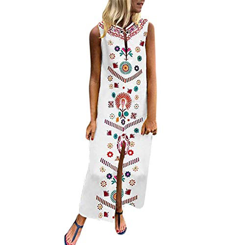 5f20201e9b Wobuoke Women s Printed Sleeveless V-Neck Hem Baggy Kaftan Long Maxi Dress  White