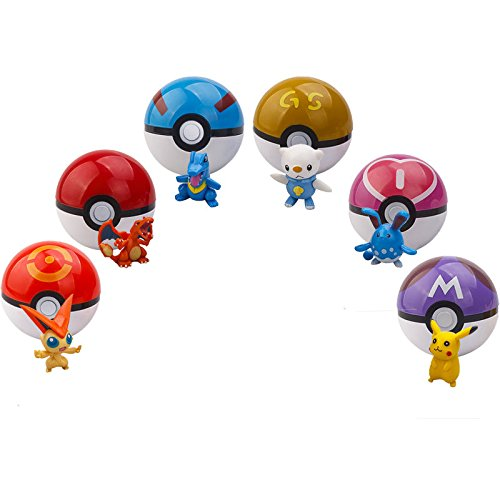 6pcs Pokemon pikachu Pokeball Cosplay Pop-up Master Great Ultra GS poke BALL Toy