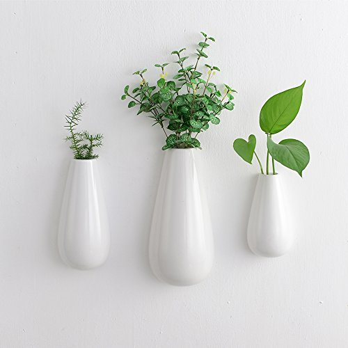 3 PCS White Ceramic Wall Mounted, Hanging or Freestanding Decorative Flower Planter Vase Holder Display by Purzest
