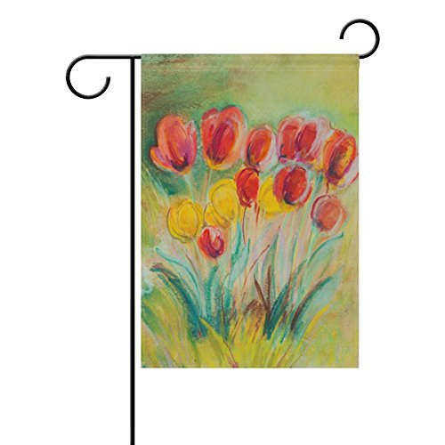 Naanle Tulips Flower in the Spring Long Polyester Garden Fla