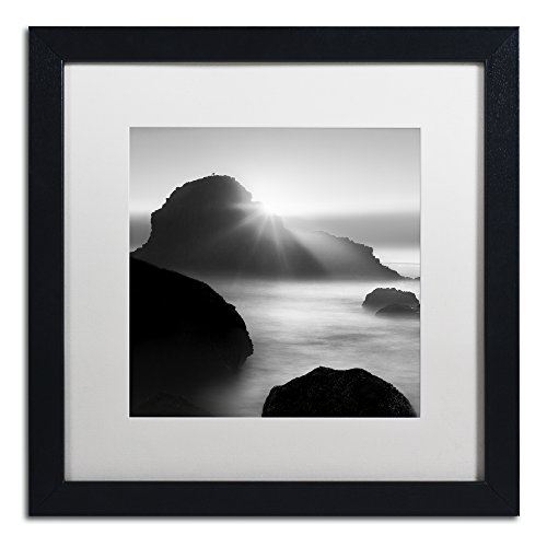 Long Sunset at Indian Beach by Moises Levy in White Matte and Black Framed Artwork, 16 by 16