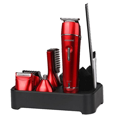 JINDIN Electric Hair Clipper Grooming Kit Nose Ear Beard Trimmer Shaver Hair Cutting Suit for Family Red (Male Personal Grooming Kit)