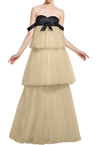 DressyMe Vogue Cake Dress Prom Ball Dress Strapless Tulle Bowknot-22W-Champagne