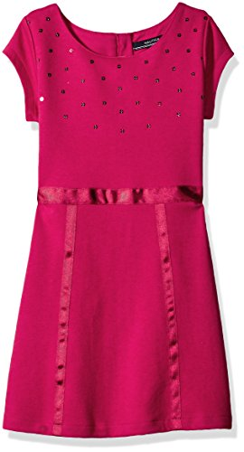 Nautica Little Girls Knit Dress with Sequin Neckline and Grosgrain Trims, Berry, 6 (Berry Trim)