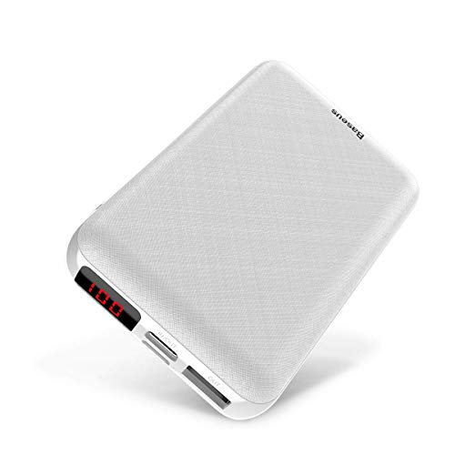Portable Cell Phone Charger 10000mAh, Baseus Mini Power Bank External Battery Packs with LED Display, Dual Input…